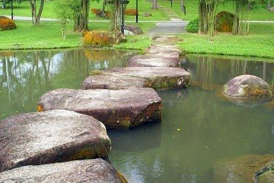Stone footpath and small lake in the Chinese Garden, Singapore