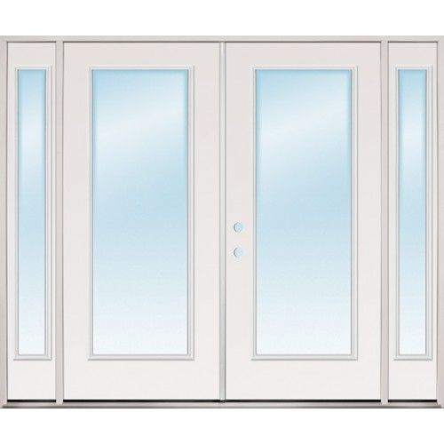 "8'0"" Wide Full Lite Steel Patio Prehung Double Door Unit"