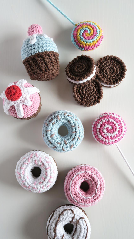 Dziergane Slodycze Crochet Earrings Crochet Desserts