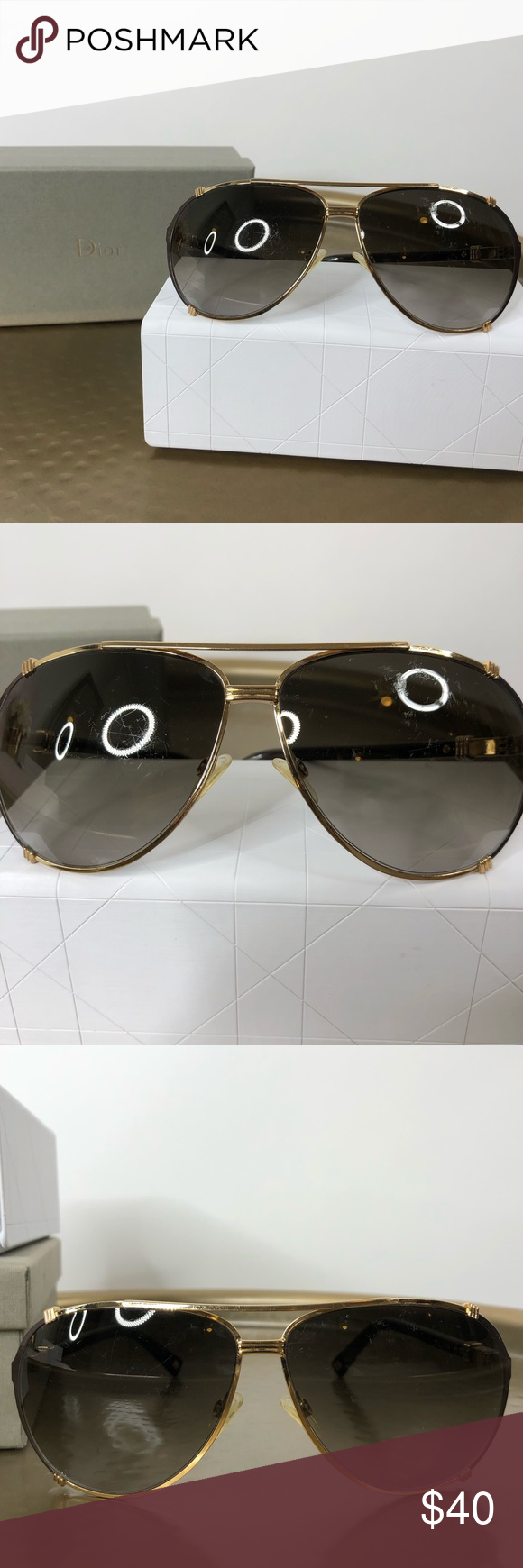 46db4614f89e Dior Chicago 2 Strauss Aviators Dior Chicago 2 Strauss Aviator Sunglasses  in Brown Gold Condition