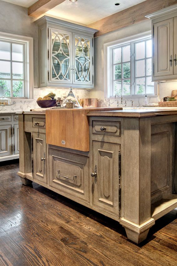 The Custom Island In Kitchen Features A Butcher Block Sentimental Piece