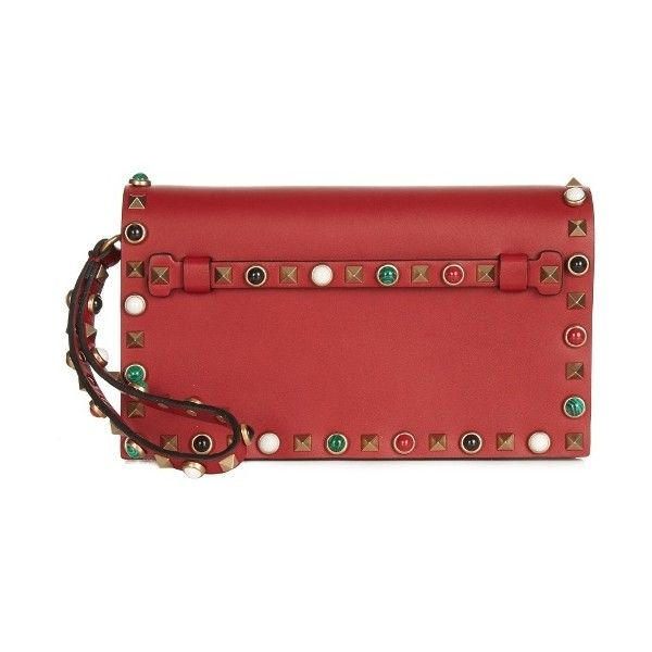 Valentino Rockstud Rolling small leather clutch ($2,195) ❤ liked on Polyvore featuring bags, handbags, clutches, colorful clutches, leather purses, red leather purse, multi colored leather handbags and real leather handbags