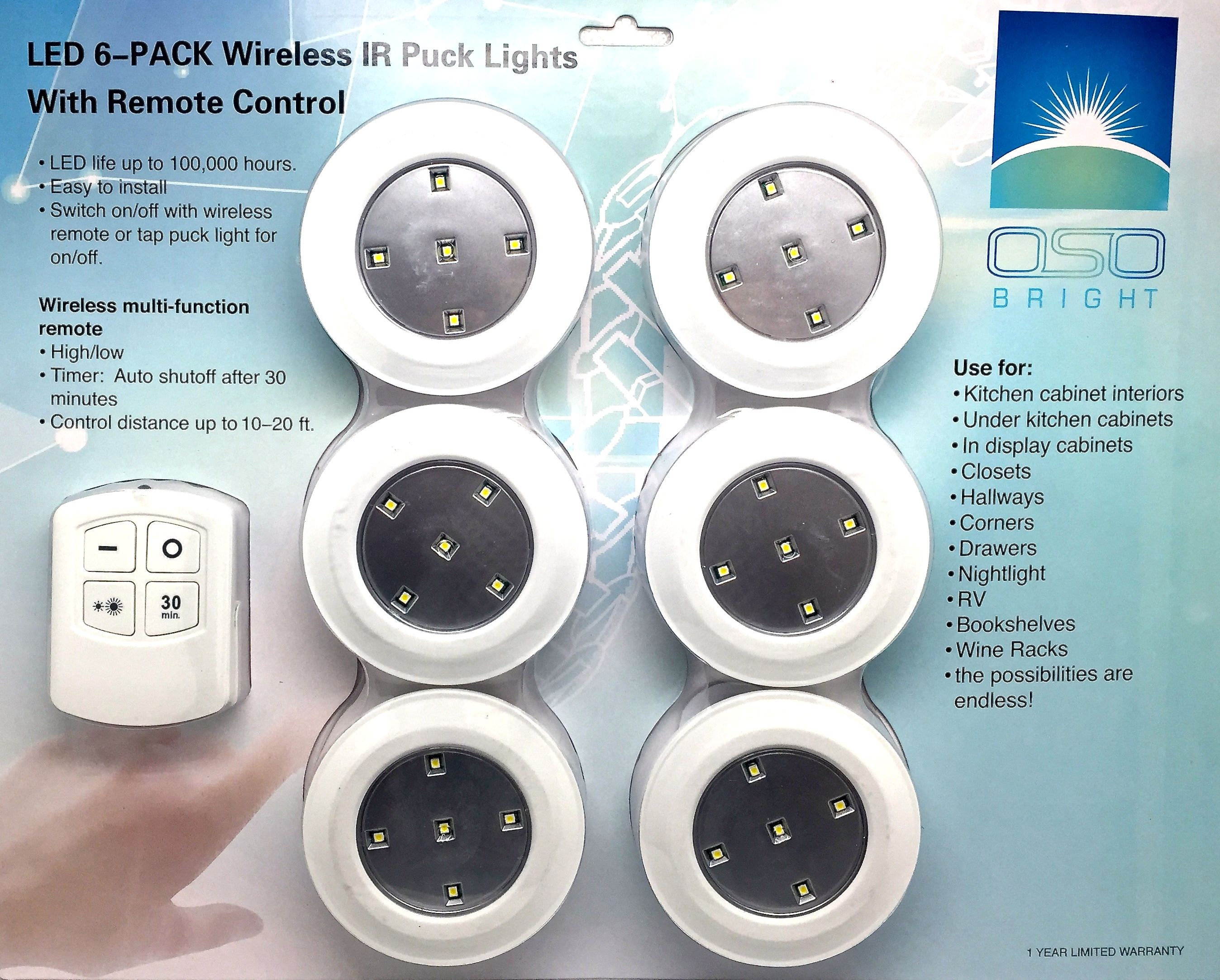 LED Wireless Puck Lights From OSO Bright.Use With Remote Control Or As A  Tap Light,night Light,closet Light Or For Under Counter Lighting To Give  You Bright ...