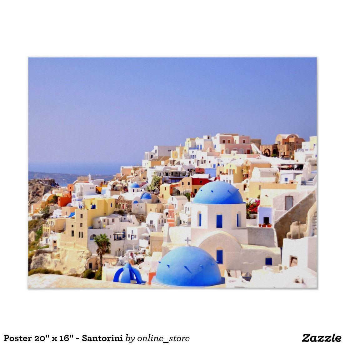 "Poster 20"" x 16"" - Santorini"