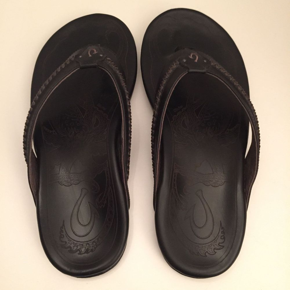 efe1940f91ed OluKai Men s Hawaiian Comfort Leather Sandals Flip Flops Beach - 11 US Black