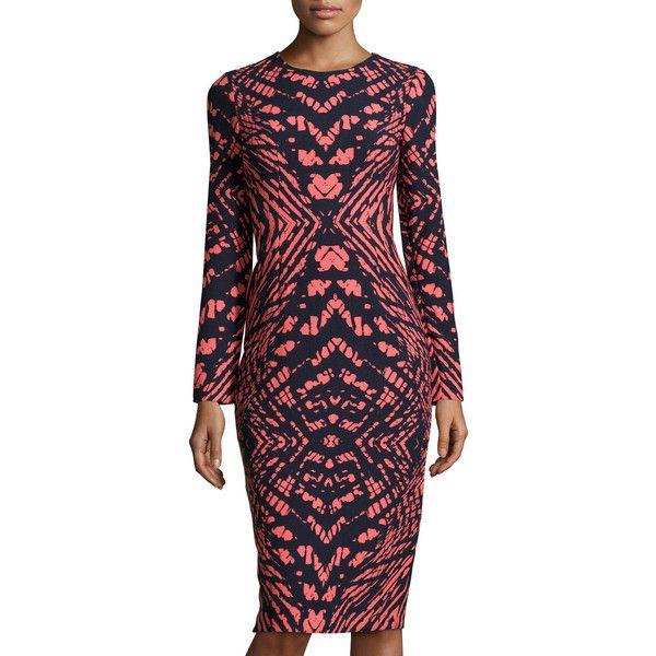 Maggy London Printed Long-Sleeve Midi Dress ($81) ❤ liked on Polyvore featuring dresses, long sleeve open back dress, navy blue midi dress, zipper dress, long sleeve sheath dress and navy midi dress