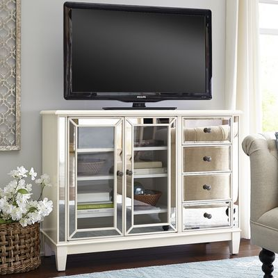 "Hayworth Mirrored Antique White 48"" TV Stand Decorate"