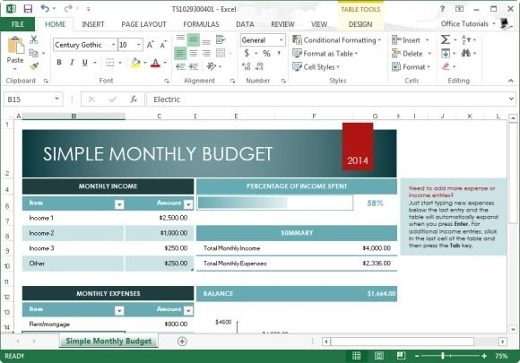 Free Monthly Budget Template for Microsoft Excel 2013 Excel - excel budget template