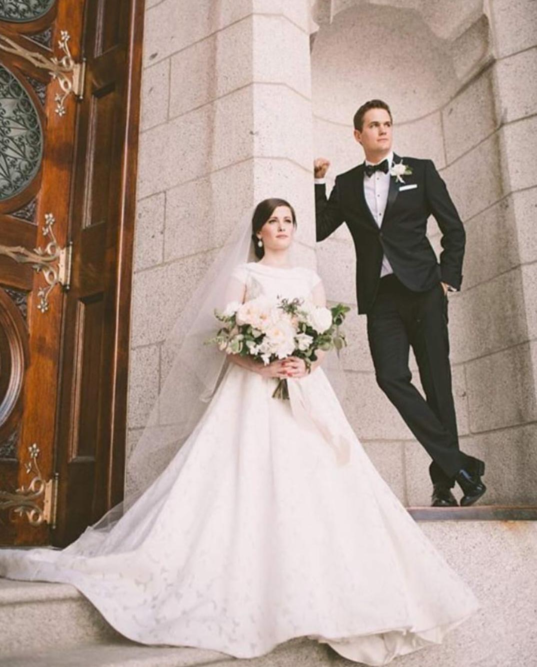 Wedding dresses com  modest wedding dress with cap sleeves from alta moda  modest