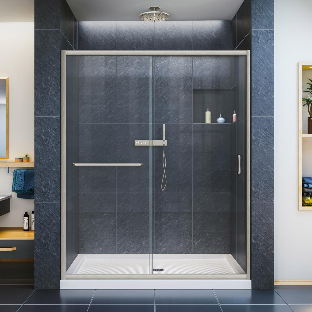 Dreamline Infinity Z 50 54 In W X 72 In H Semi Frameless Sliding Shower Door In Brushed Nickel Shdr 0954720 04 The Home Depot Frameless Sliding Shower Doors Sliding Shower Door Shower Doors