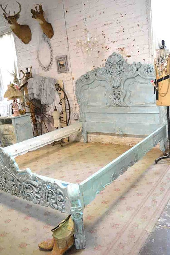 84edaa19e6 French Bed Painted Cottage Shabby Chic Rococo Bed Aqua Queen / King ...