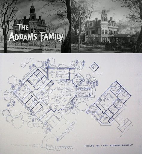 The Addams Family Home At 0001 Cemetery Lane Blueprints Floor Plan Addams Family House Addams Family Adams Family House
