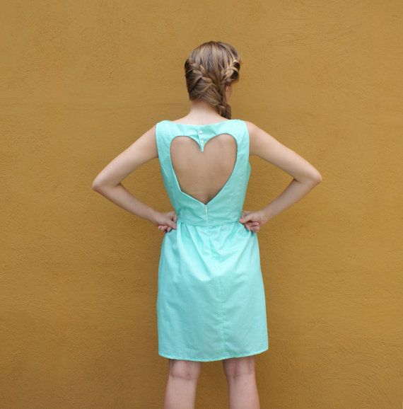 Mint Green Sundress with Heart Cutout. oh my god!! i LOVE this dress!!! and i really like how she has her hair!!