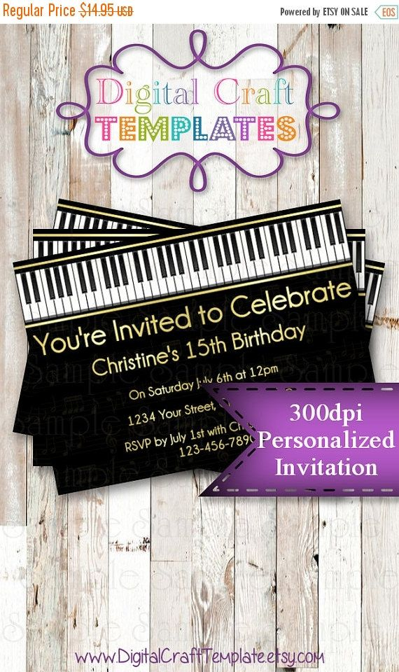 On Sale Personalized Printable Invitations Por DigitalCraftTemplate Music Notes Thank You Cards