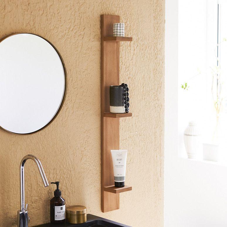 Vertical Teck Bahya Teak Bathroom Shelf Shelves Racks N Cabinets In 2019 Teak Bathroom Bathroom Mirror With Shelf Bathroom Shelves