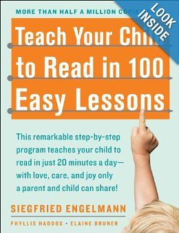 """Teach your child to read in 100 Easy lessons - Finished this book with our Kindergartener, and she was decoding new words fairly fluently by the end of it. Now working on it with the 2yr old, who can read short 2-3 sound """"words."""" Love this proven method."""
