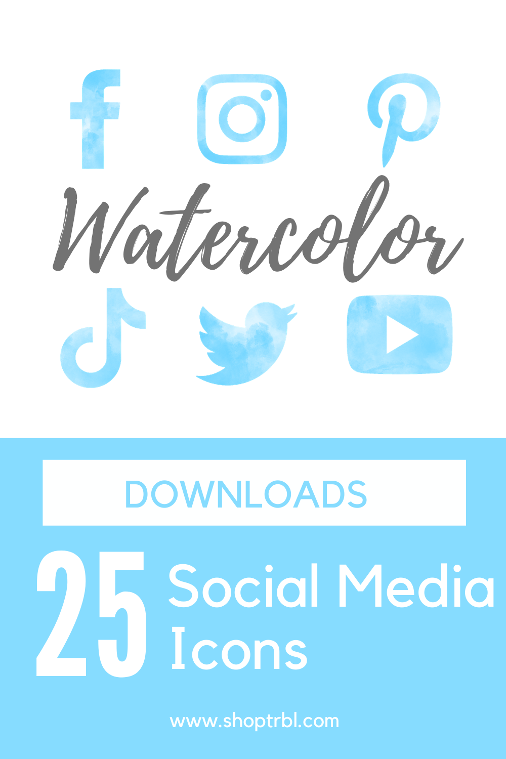 Pastel Blue Watercolor Social Media Icon Sets 25 Icons
