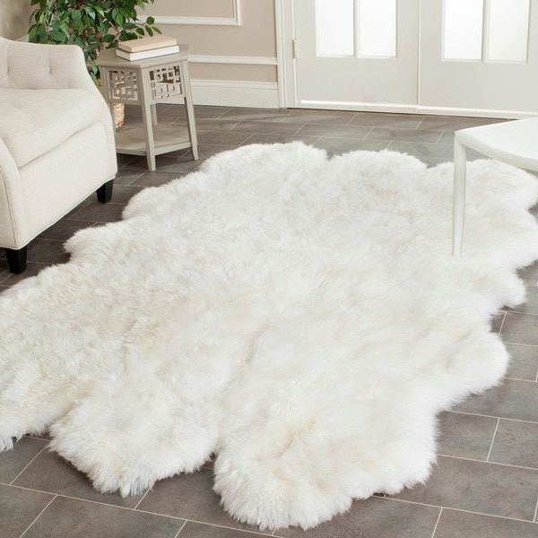 safavieh hand-woven sheepskin pelt white shag rug (5' x 8