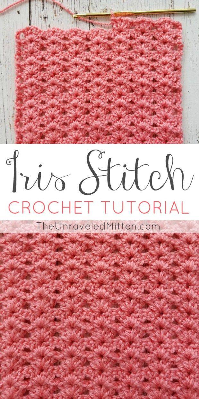 Iris Stitch Crochet Tutorial | Häkelideen, Handarbeiten und Häkeln