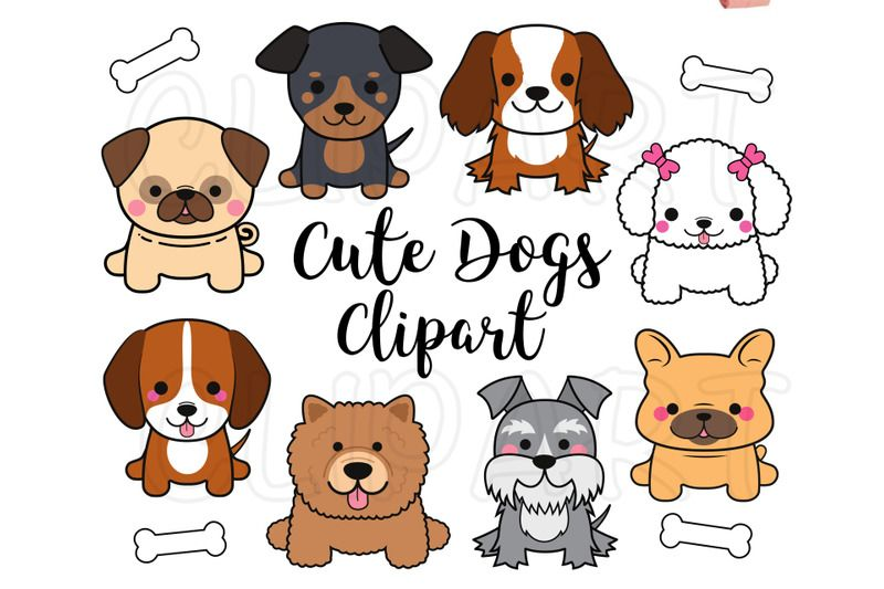 Dogs Clipart Dogs Clip Art Cute Puppy Clipart Kawaii Dogs Clipart By My First Invite Thehungryjpeg Com Puppy Clipart Dog Clip Art Dog Clip