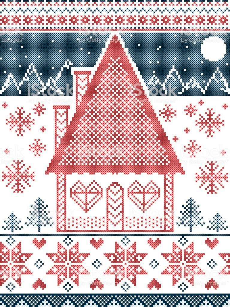 Nordic Style And Inspired By Scandinavian Christmas Pattern And Craft Scandinavian Christmas Christmas Pattern Cross Stitch House