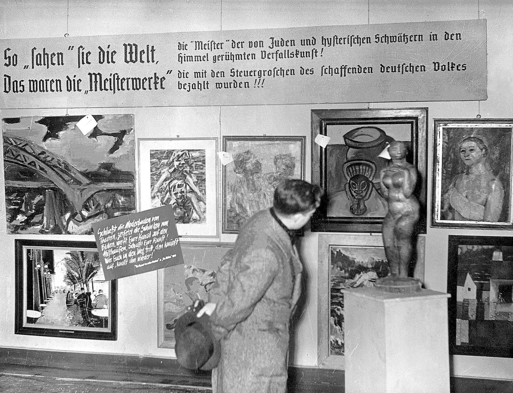 Exhibition degenerate art in munich photo from the exhibition degenerate art in 1937 shown in the haus der kunst in munich
