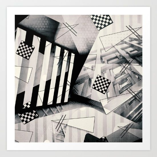 Bauhaus black white bold looks and a beautiful art block style make this miami vice vs bauhaus black white print stand out