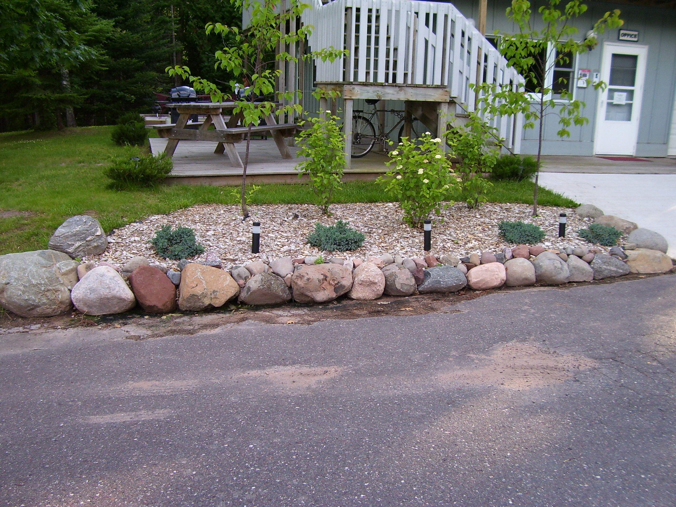 Brookside Condos, Bayfield, Wisconsin Flower bed, boulder ...
