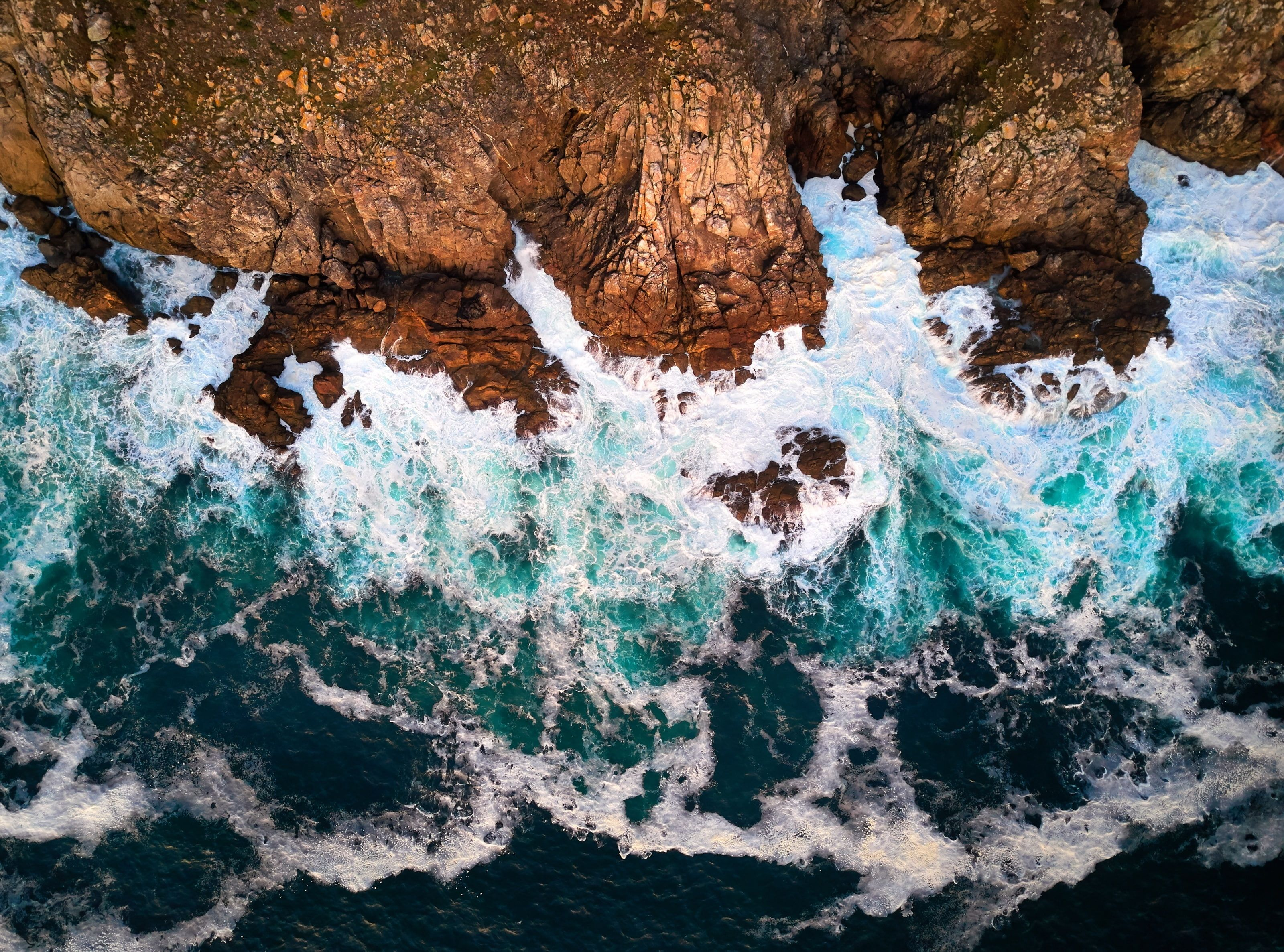 Cape Finisterre Atlantic Ocean Galicia Spain Water Waves Nature Beach Ocean View Nature Scenery Aerial Photography Drone Surfing Waves Aerial Drone