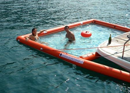 Here S An Inflatable Pool For Your Boat Boating Pontoon Boating And Lakes