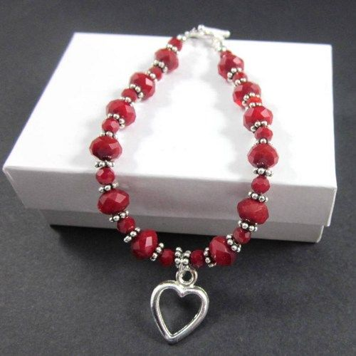 ruby red crystal pewter bead bracelet open heart charm valentines day thesingingbeader jewelry on - Valentines Day Bracelet