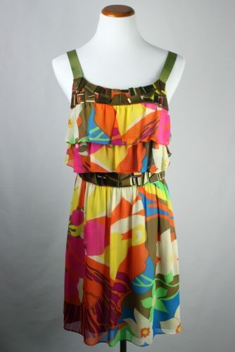 Tibi - 100% Silk Floral Dress - Size 6 - Fun and reminiscent of 1960s with gold gem accents and ribbon straps