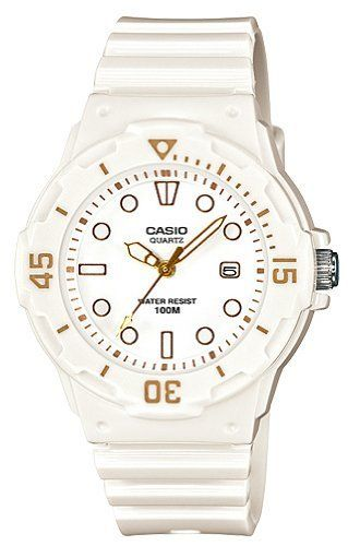 Casio #LRW200H-7E2V Women's White Rubber Band 100M Sports Analog Watch Casio. $19.97. 100M Water Resistant, 3-Hand Analog. Size of case/total weight: 38.9 X 34.2 X 11.5 mm/25 g. Accuracy: +/- 20 seconds per month, Battery: SR626SW. Date Display, Bi-directional rotating bezel. Approx. battery life: 3 years, Module 5125. Save 33% Off!