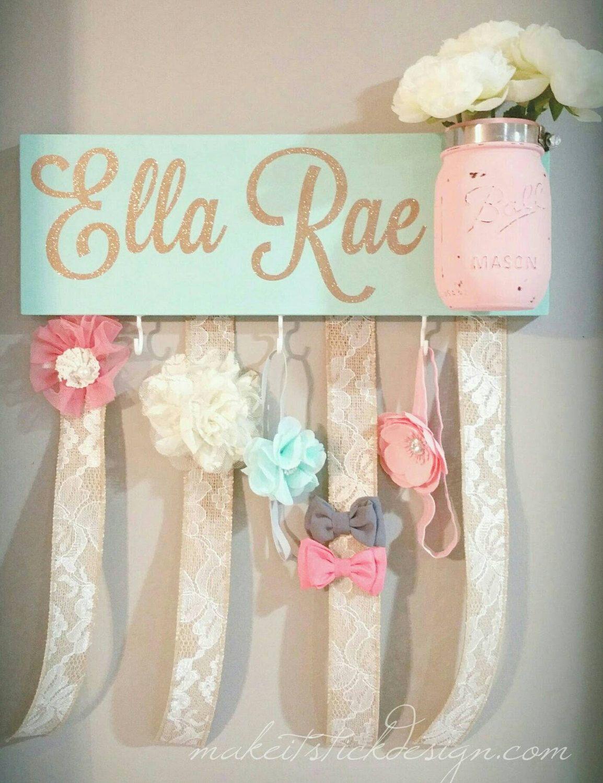 headband bow holder custom name board baby girl by makeitstickdesigns on etsy https - Etsy Baby Room