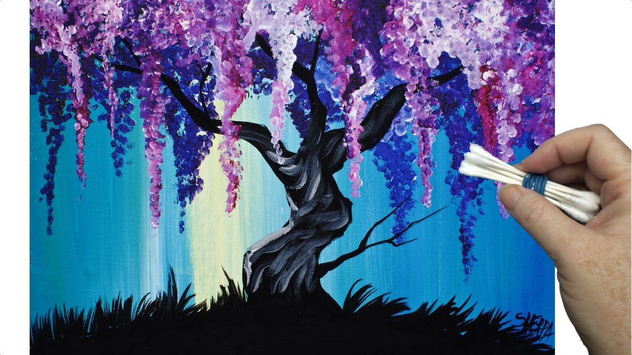 Simple Wisteria Tree With Cotton Swabs In Acrylic Paint On Canvas