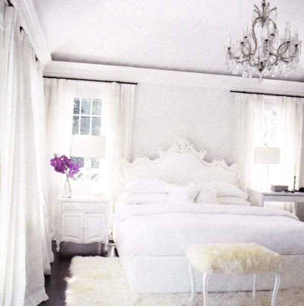 I Dream Of Having An All White Master Bedroom Someday A Giant Chandelier Hanging From The Ceiling Is Manda White Bedroom Design White Rooms Beautiful Bedrooms