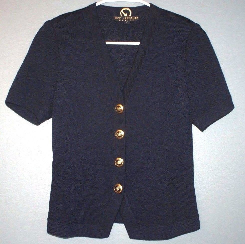 St. John basics navy blue short sleeve cardigan sweater womens ...