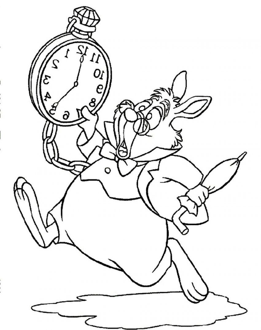 Disney Coloring Pages Alice In Wonderland White Rabbit Alice In