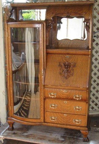 Oak Side By Side Secretary Desk Bookcase American Late