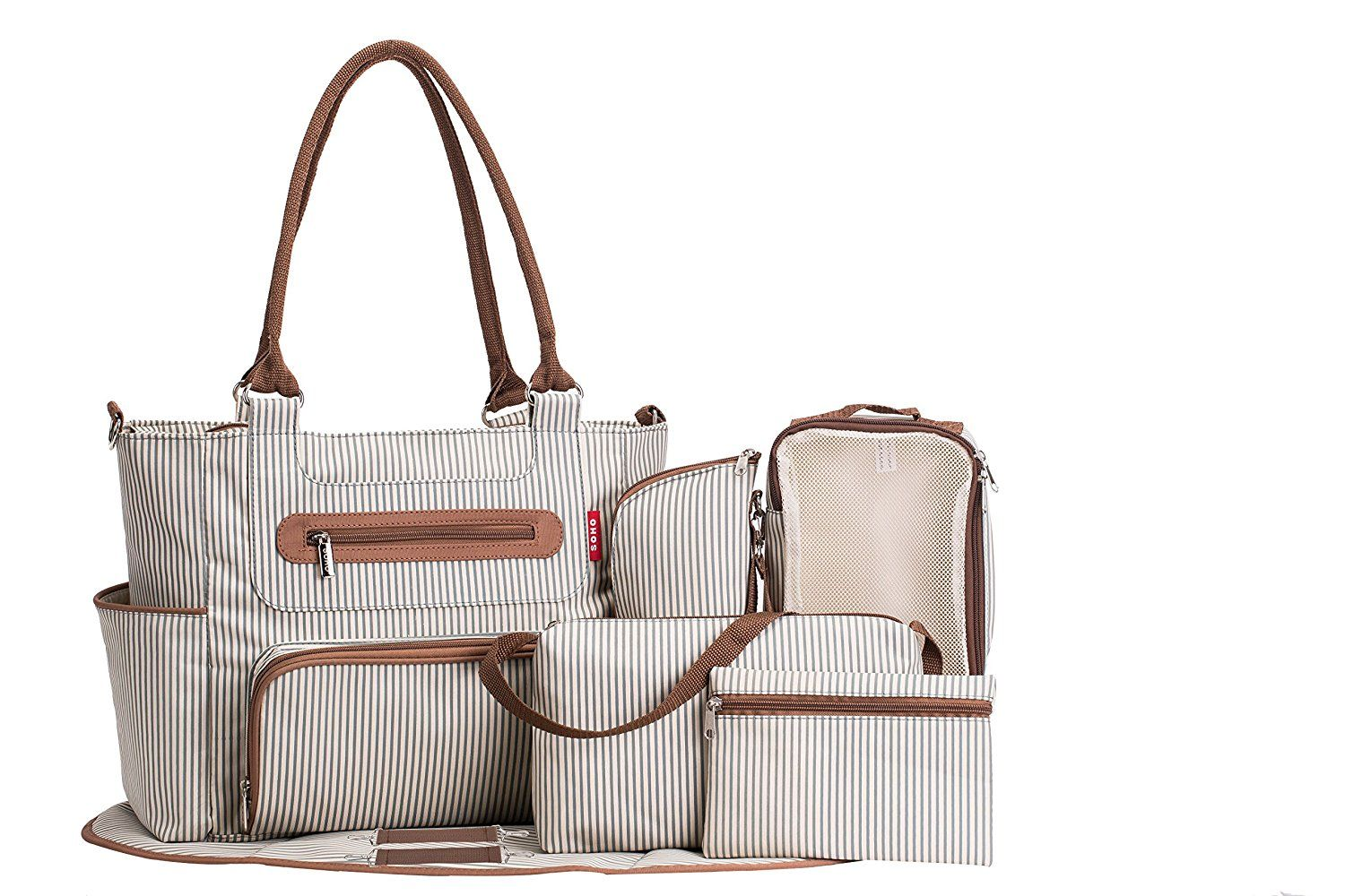 b62434ad8b332 Amazon.com : SoHo Collection, Grand Central Station 7 pieces Diaper Bag set  : Baby