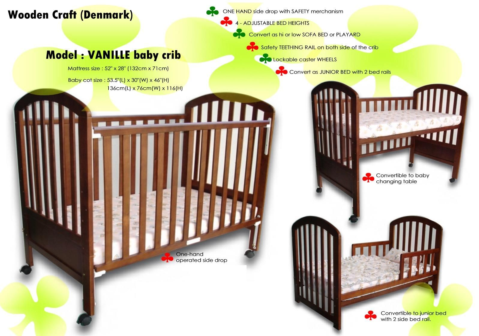 Crib heights for babies - Baby Cots Vanille Convertible Baby Crib Cot Bed Newborn To 7 Years