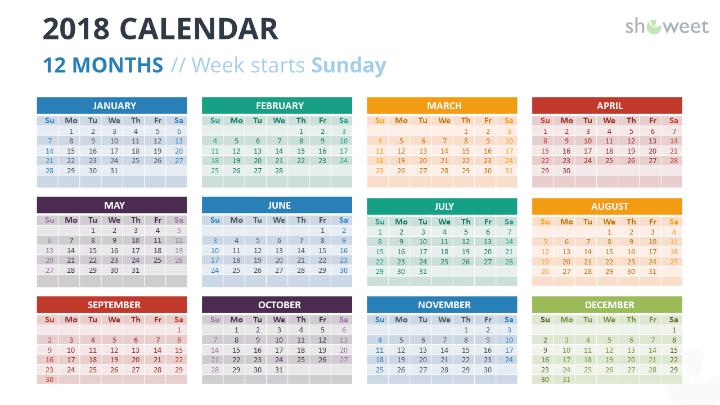 2018 calendar powerpoint templates free calendar 2018 powerpoint template 12 months week starts sunday colors toneelgroepblik Gallery