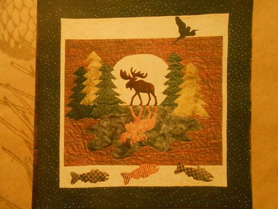 """Moose Xing Quilt Directions & Pattern-32"""" by 33"""" Wilderness Quilt Design-Wall Decor or Quilt-Rustic Alaskan Canadian quilt Design-Unique"""