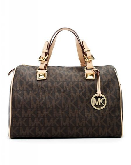 b6dd6e176bc07c www.mkshop.us Michael Kors Grayson Large Logo Satchel Brown,Michael Kors  Satchels