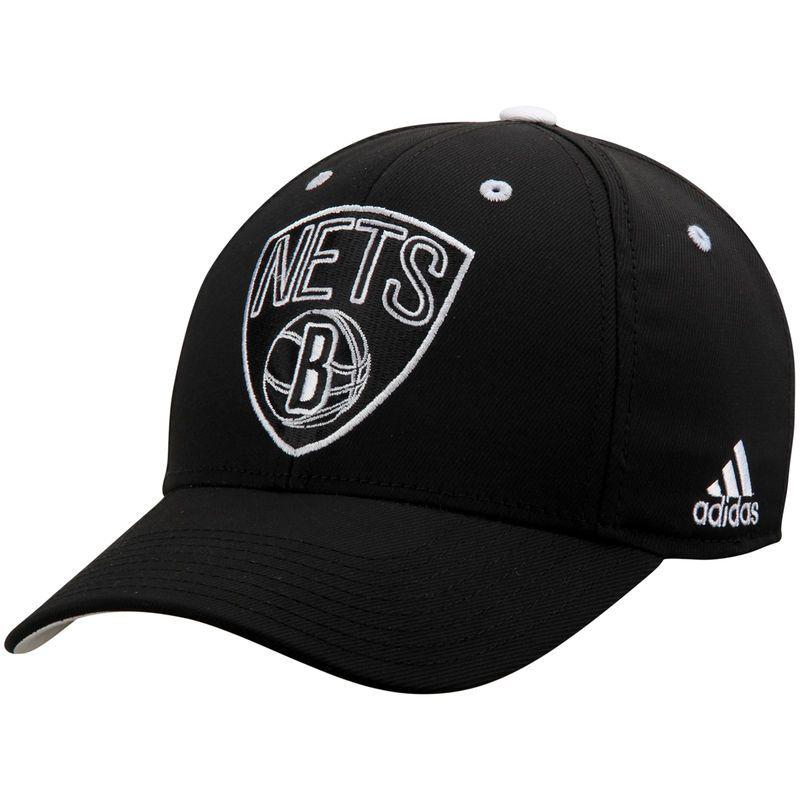 e6c3f063705f8 Brooklyn Nets adidas Team Nation Logo Structured Flex Hat - Black ...