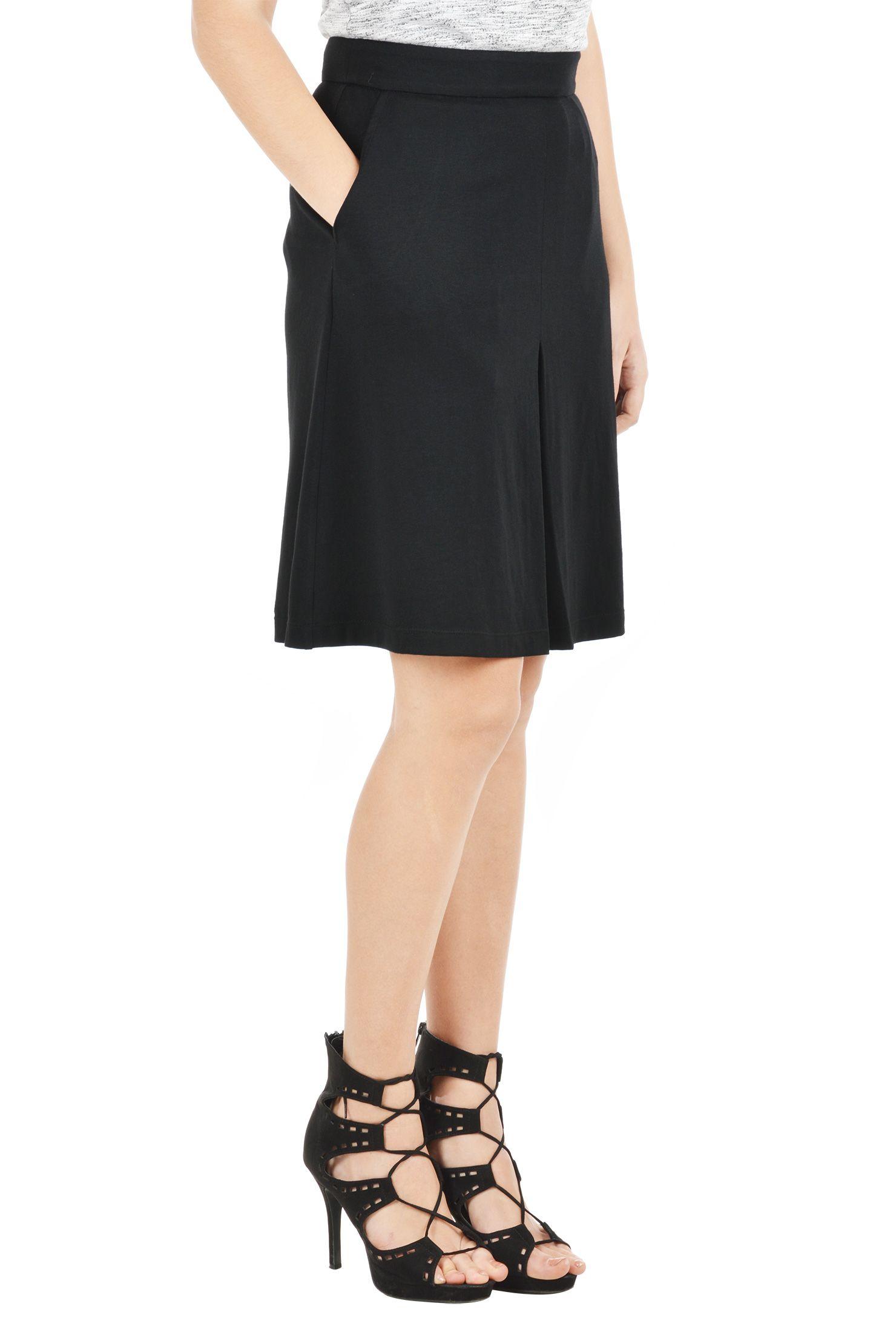 c4886436ea Above knee length skirts, banded waist skirts, Black Skirts, Cotton/spandex