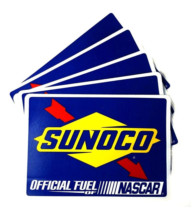 Sunoco Gasoline Official Fuel Of Nascar Lot Of 5 Stickers Etsy In 2021 Nascar Vintage Theme Etsy Pinterest