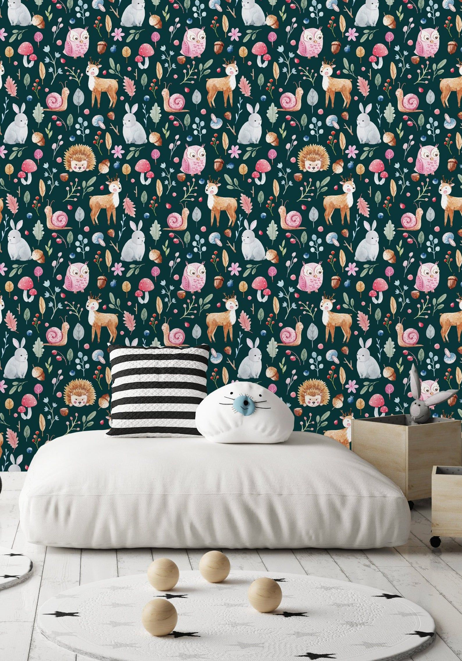 Fairy Forest With Animals And Plants Wallpaper Peel And Stick Etsy Plant Wallpaper Wall Wallpaper Peel And Stick Wallpaper