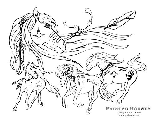 Patterns Wild Horses Printable Fun Coloring Page