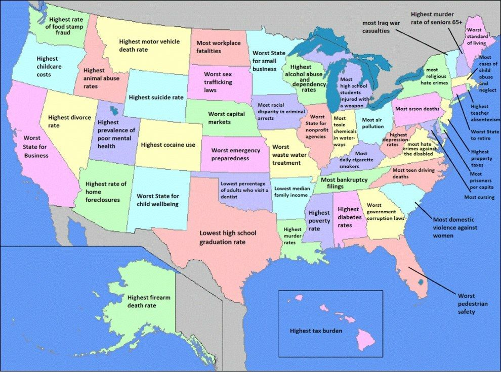 What Is Your State Worst At Mapy Sveta Pinterest Humor - Map of united states states